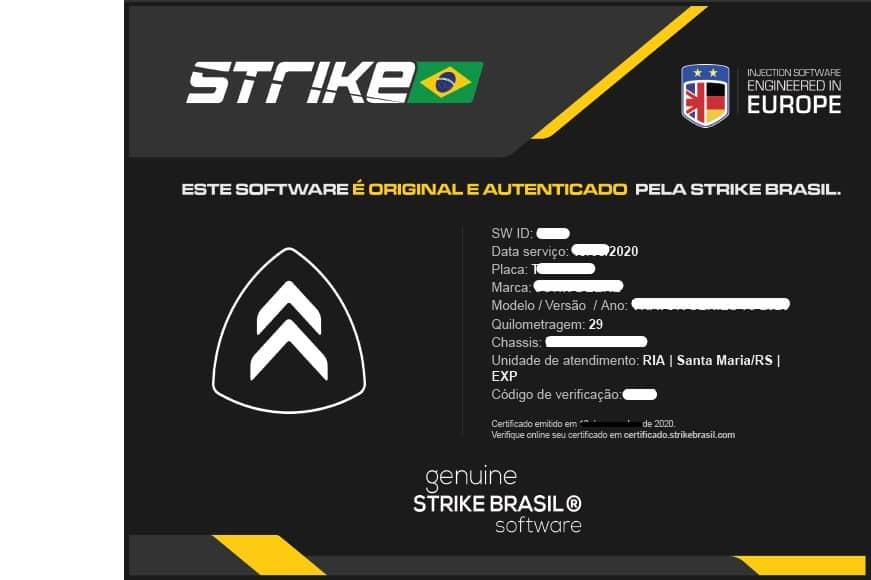 Modelo de um certificado de Autenticidade Strike Brasil