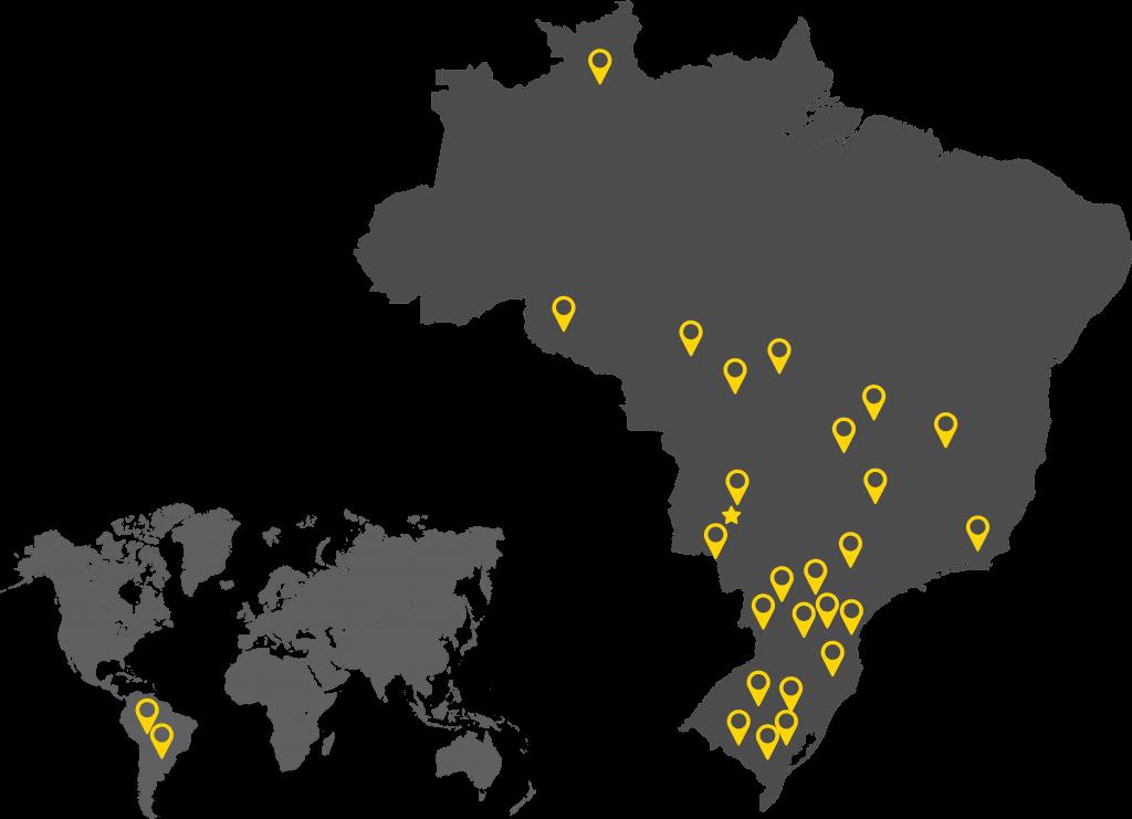 mapa com pins amarelos das localizações onde tem strike brasil