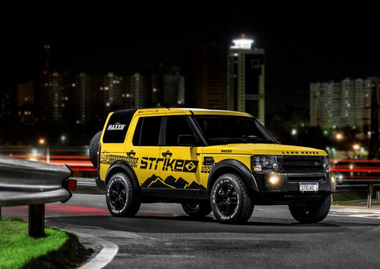 Landrover amarela que foi sorteada pela Strike Brasil no Official Truck 2019